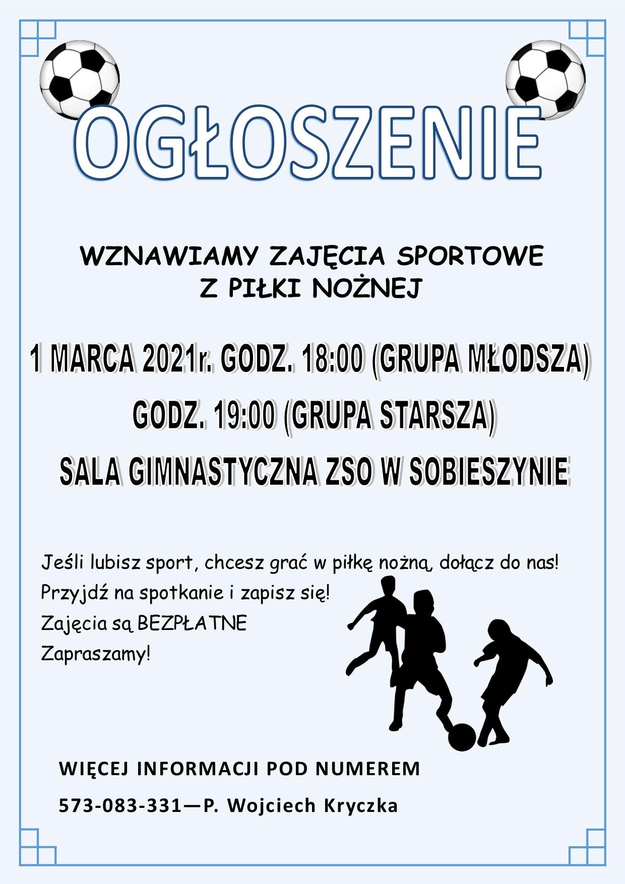 Ogłoszenie o zajęciach sportowych
